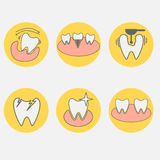 Insieme delle icone concettuali dentarie Immagini Stock Libere da Diritti