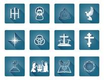 Insieme delle icone cristiane Fotografia Stock
