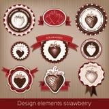 Insieme delle icone d'annata e moderne delle fragole Immagine Stock