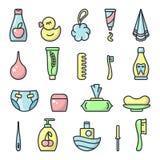 Insieme delle icone degli accessori di igiene del bambino illustrazione di stock