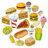 Insieme delle icone degli alimenti a rapida preparazione fotografia stock