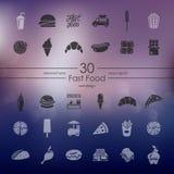 Insieme delle icone degli alimenti a rapida preparazione Immagine Stock Libera da Diritti