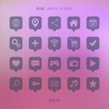 Insieme delle icone dei apps su fondo vago Immagine Stock Libera da Diritti