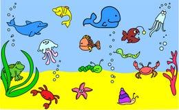 Insieme delle icone dei bambini del vettore degli animali marini Fotografia Stock Libera da Diritti