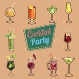 Insieme delle icone dei cocktail che imballano, web, menu, fondo Stile del fumetto Illustrazione di vettore illustrazione di stock