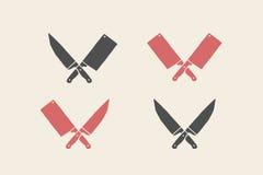 Insieme delle icone dei coltelli del ristorante Immagini Stock