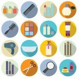 Insieme delle icone dei cosmetici illustrazione di stock