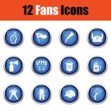 Insieme delle icone dei fan di calcio Immagine Stock Libera da Diritti