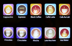 Insieme delle icone, dei simboli o dei bottoni del caffè Immagine Stock