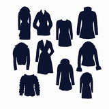Insieme delle icone dei vestiti di inverno delle donne Fotografia Stock Libera da Diritti