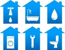 Insieme delle icone del bagno con la siluetta della casa Fotografie Stock Libere da Diritti