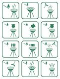 Insieme delle icone del barbecue Fotografie Stock