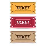 Insieme delle icone del biglietto di film con ombra su un fondo bianco illustrazione vettoriale