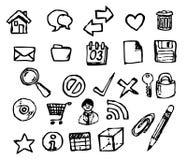 Insieme delle icone del calcolatore di doodle Fotografia Stock Libera da Diritti