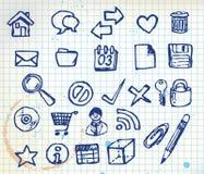 Insieme delle icone del calcolatore di doodle Fotografia Stock