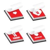 Insieme delle icone del calendario di giorno di biglietti di S. Valentino Royalty Illustrazione gratis