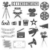 Insieme delle icone del cinema Direttori presiedono, macchine fotografiche del cinema, gli occhiali di protezione 3d Fotografia Stock Libera da Diritti