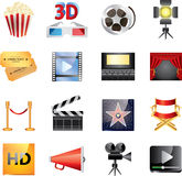 Insieme delle icone del cinema grande Fotografie Stock