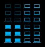 Insieme delle icone del computer portatile Fotografia Stock Libera da Diritti