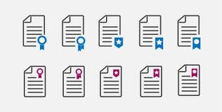 Insieme delle icone del contratto con la guarnizione illustrazione vettoriale