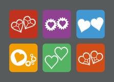 Insieme delle icone del cuore di stile degli ingranaggi Immagini Stock
