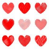 Insieme delle icone del cuore disegnate progettazione per il giorno di biglietti di S. Valentino Fotografia Stock Libera da Diritti