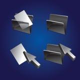 Insieme delle icone del dispositivo di piegatura e dell'archivio Fotografie Stock Libere da Diritti