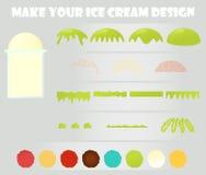 Insieme delle icone del fumetto, progettista del gelato Fotografie Stock
