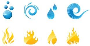 Insieme delle icone del fuoco e dell'acqua Immagine Stock