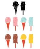 Insieme delle icone del gelato, illustrazione di vettore Fotografia Stock