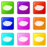 Insieme delle icone 9 del giacimento del riso Immagine Stock Libera da Diritti