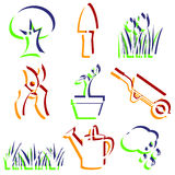 Insieme delle icone del giardino. Fotografie Stock