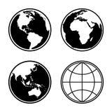 Insieme delle icone del globo del pianeta della terra Vettore Fotografia Stock