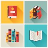 Insieme delle icone del libro nello stile piano di progettazione illustrazione vettoriale