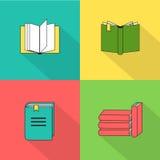 Insieme delle icone del libro nello stile piano di progettazione Fotografia Stock