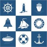 Insieme delle icone del mare Fotografie Stock Libere da Diritti