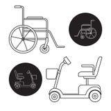 Insieme delle icone del motorino e della sedia a rotelle di mobilità Fotografia Stock