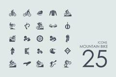 Insieme delle icone del mountain bike Immagine Stock Libera da Diritti