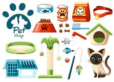 Insieme delle icone del negozio di animali Accessori per i gatti Illustrazione piana Alimentazione, giocattoli, ciotola, collare  Immagine Stock