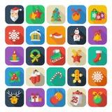 Insieme delle icone del nuovo anno e di Natale clipart di vettore Fotografia Stock Libera da Diritti