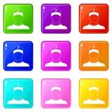 Insieme delle icone 9 del parcheggiatore Fotografia Stock Libera da Diritti