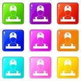 Insieme delle icone 9 del parcheggiatore Fotografie Stock