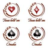 Insieme delle icone del poker con il simbolo della carta da gioco su un fondo bianco Fotografie Stock