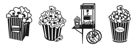 Insieme delle icone del popcorn, stile semplice illustrazione vettoriale