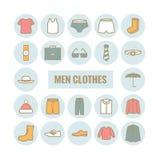Insieme delle icone del profilo di vettore dei vestiti degli uomini Immagini Stock Libere da Diritti