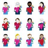Insieme delle icone del regalo di giorno di biglietti di S. Valentino illustrazione vettoriale
