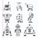 Insieme delle icone del robot di scarabocchio Fotografie Stock Libere da Diritti