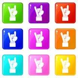 Insieme delle icone 9 del segno della mano di rock-and-roll Immagine Stock