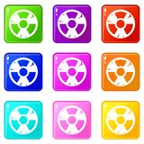 Insieme delle icone 9 del segno di radiazione Immagine Stock