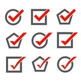 Insieme delle icone del segno di spunta illustrazione vettoriale